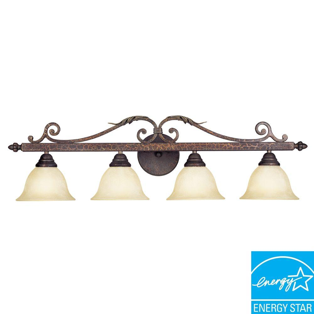 World Imports Olympus Tradition Collection 4-Light Crackled Bronze with Silver Bath Bar Light