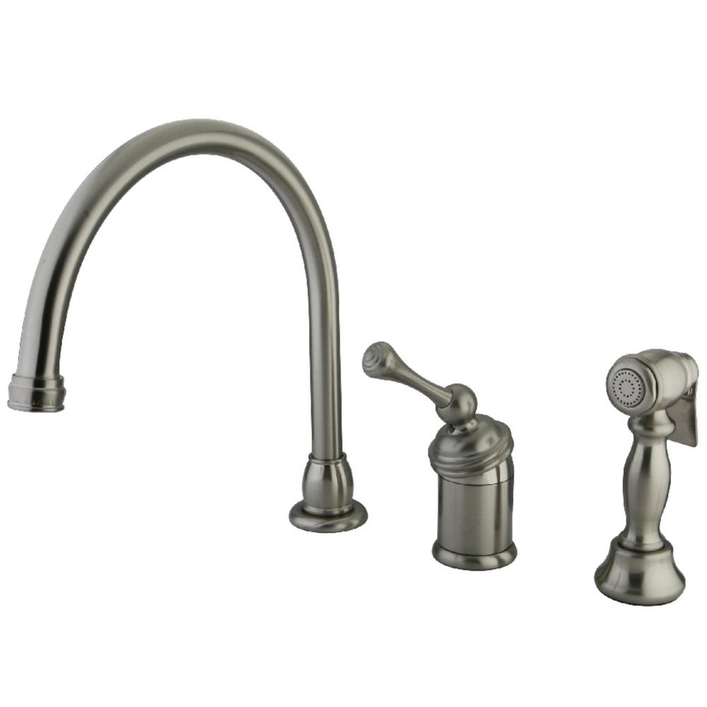 Kingston Brass Buckingham Single-Handle Standard Kitchen Faucet with Side  Sprayer in Brushed Nickel