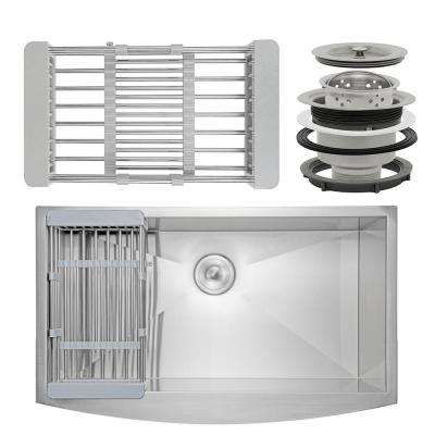 All-in-One Apron-Front Stainless Steel 33 in. L x 20 in. L x 9 in. Single Bowl Kitchen Sink with Tray and Drain