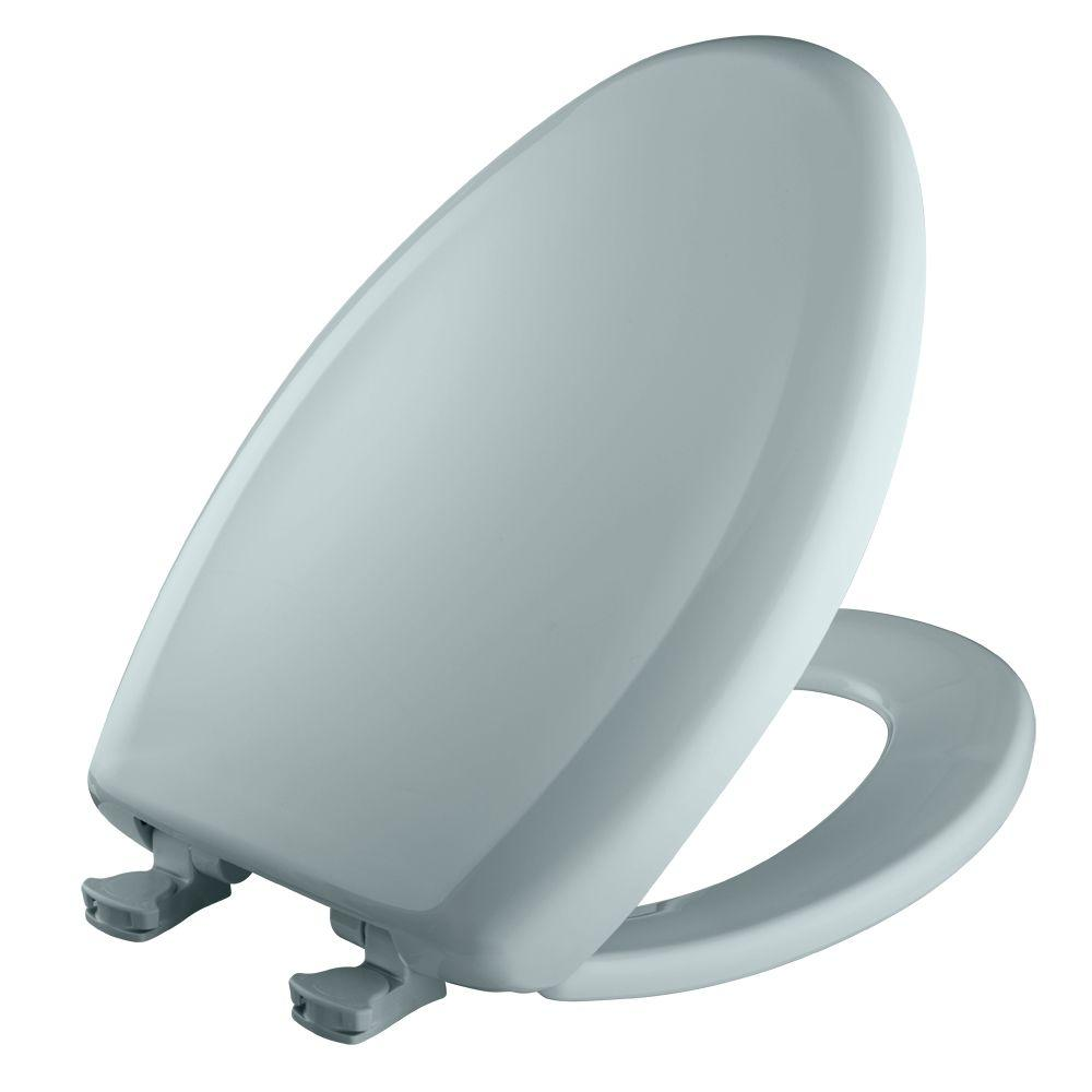 Slow Close STA-TITE Elongated Closed Front Toilet Seat in Blue Mist