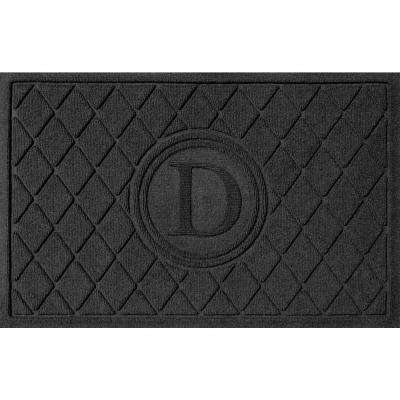 Argyle Charcoal 24 in. x 36 in. Monogram D Door Mat