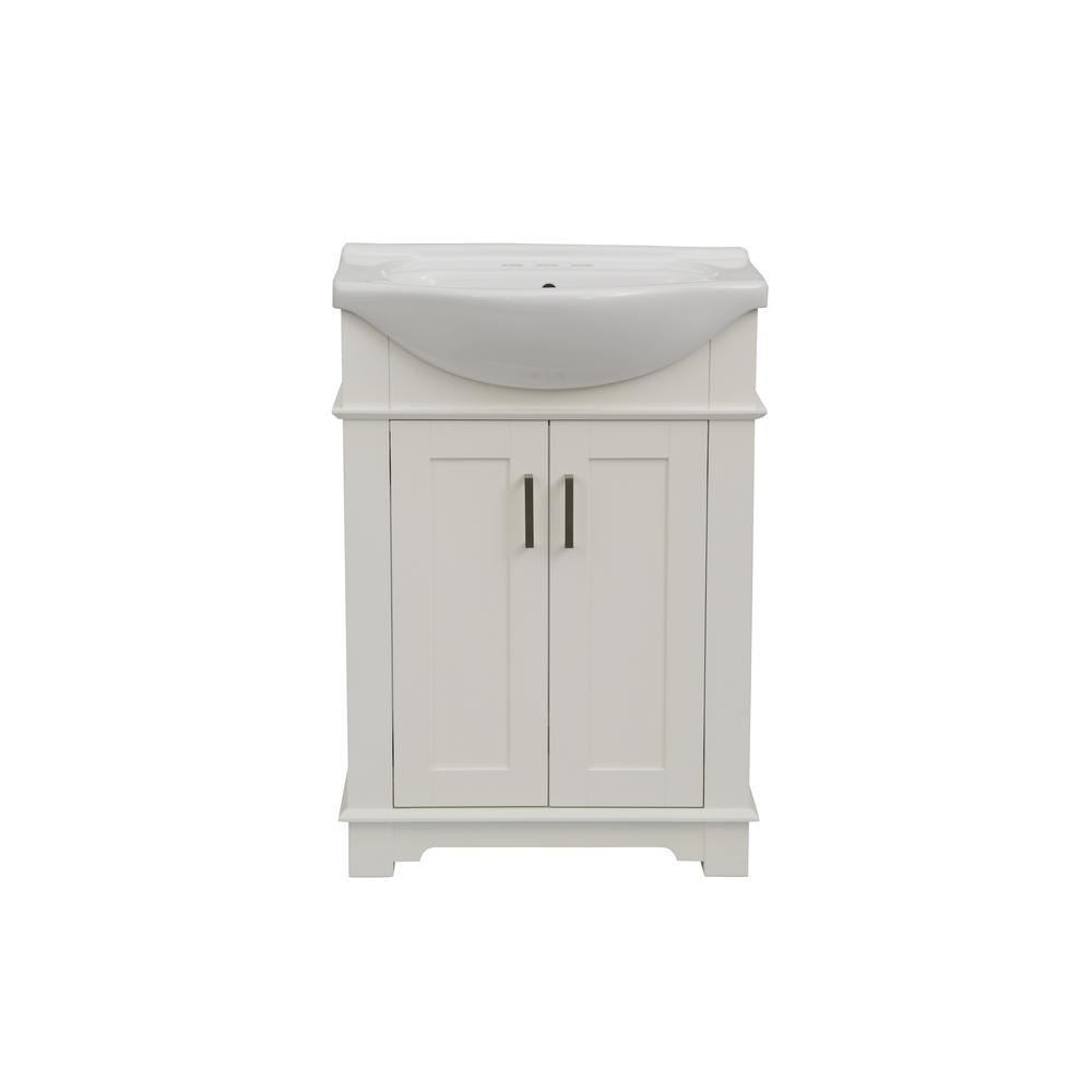 24 in. W x 17 in. D x 34 in. H Bath Vanity in White with Ceramic Vanity Top in White with White Basin