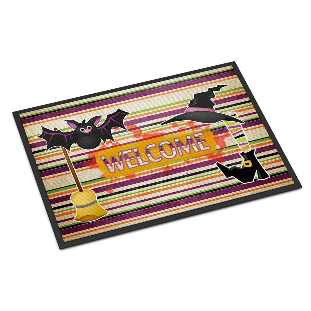 18 in. x 27 in. Indoor/Outdoor Witch Costume and Broom On Stripes Halloween Door Mat