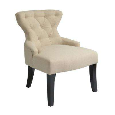 Curves Linen Fabric Hour Glass Accent Chair with Espresso Legs