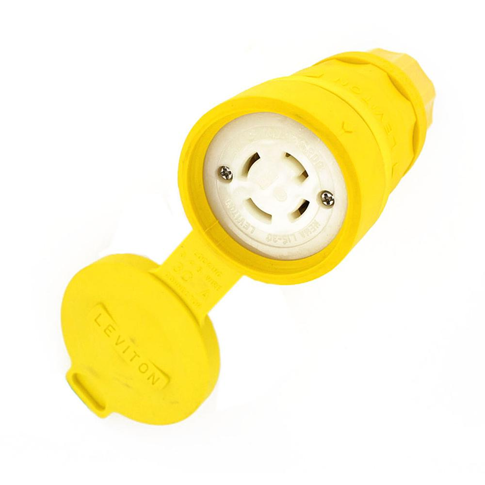 Leviton 30 Amp 250 Volt 3 Phase Locking Grounding Connector Yellow Cooper Wiring Devices 20amp 125volt 3wire Plug