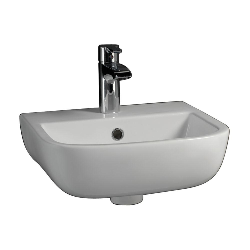 Barclay Products Series 600 Large Wall-Hung Bathroom Sink In White-4-221WH