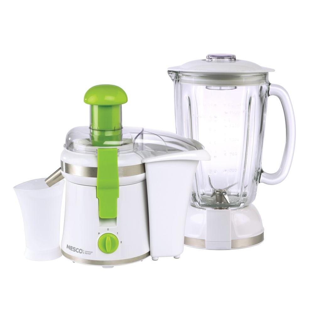 Nesco 2-in-1 Juicer and Blender, White-DISCONTINUED