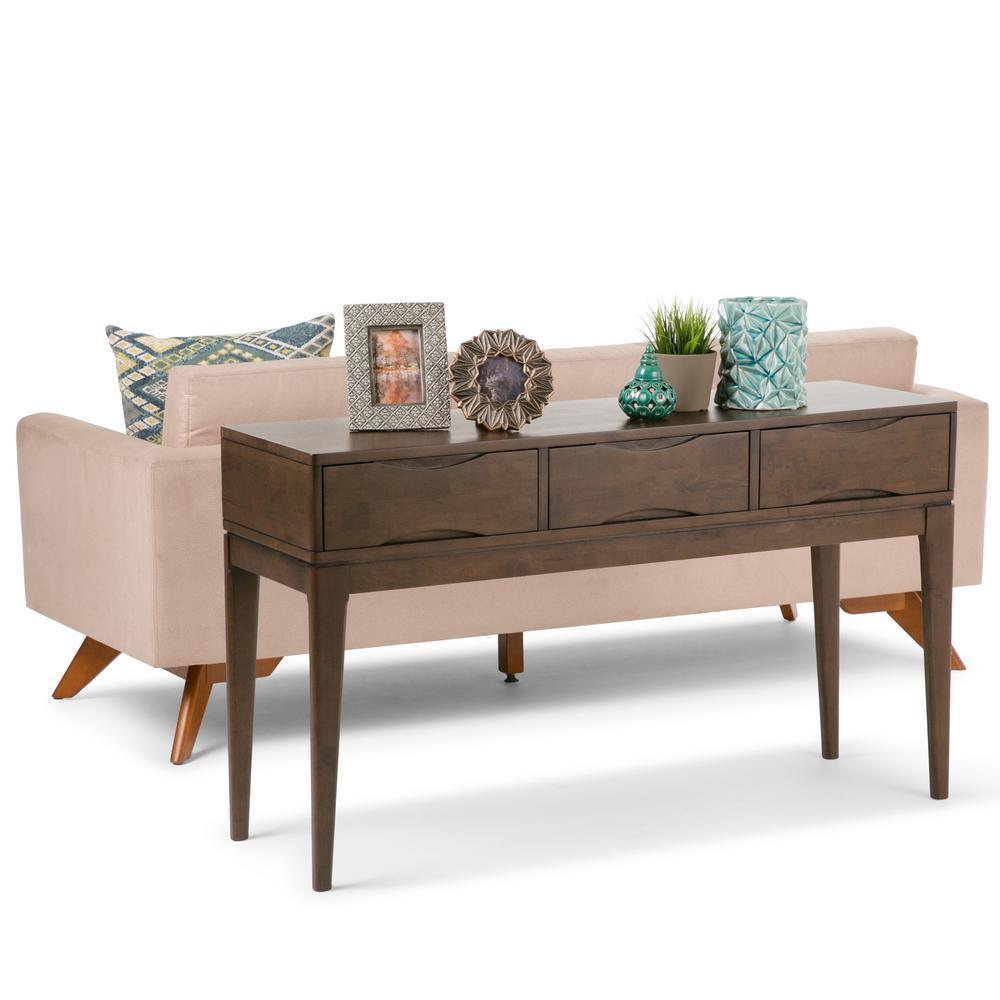 Harper Walnut Brown Storage Console Table