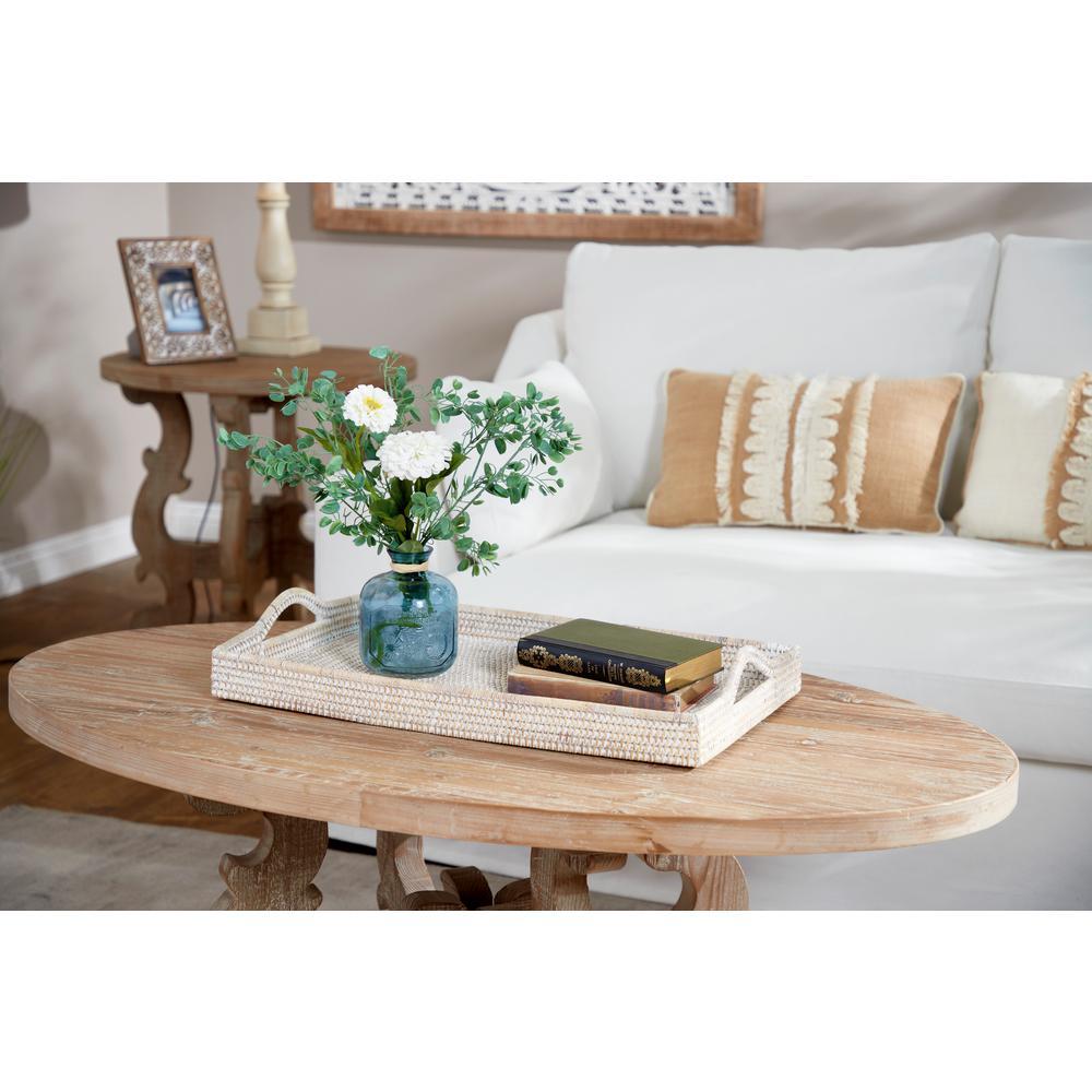 Rectangular Whitewashed Rattan Decorative Trays (Set of 2)