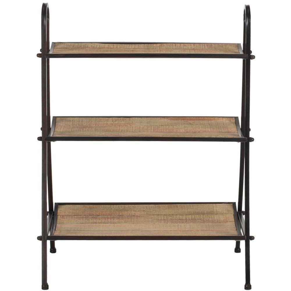 safavieh oswald 3 shelf natural color with black brushed decorative etagere amh4130a the home. Black Bedroom Furniture Sets. Home Design Ideas