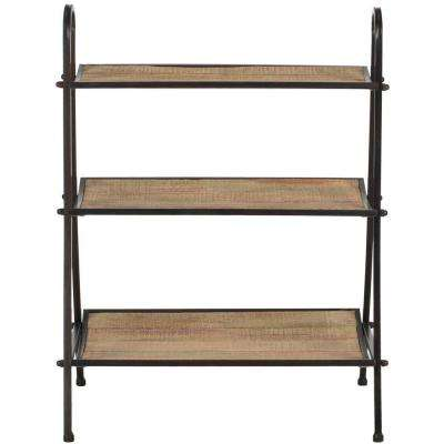 Oswald 3-Shelf Natural Color with Black Brushed Decorative Etagere