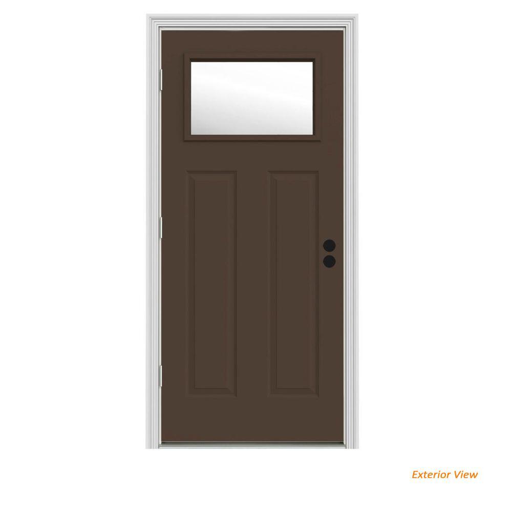 JELD-WEN 34 in. x 80 in. 1 Lite Craftsman Dark Chocolate Painted Steel Prehung Right-Hand Outswing Front Door w/Brickmould