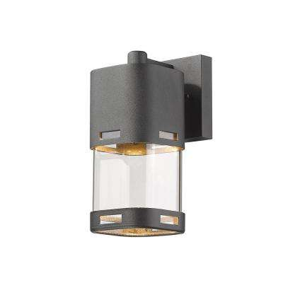 Noya 60-Watt Equivalent Outdoor Black Integrated LED Wall Mount Sconce with Clear Glass Shade