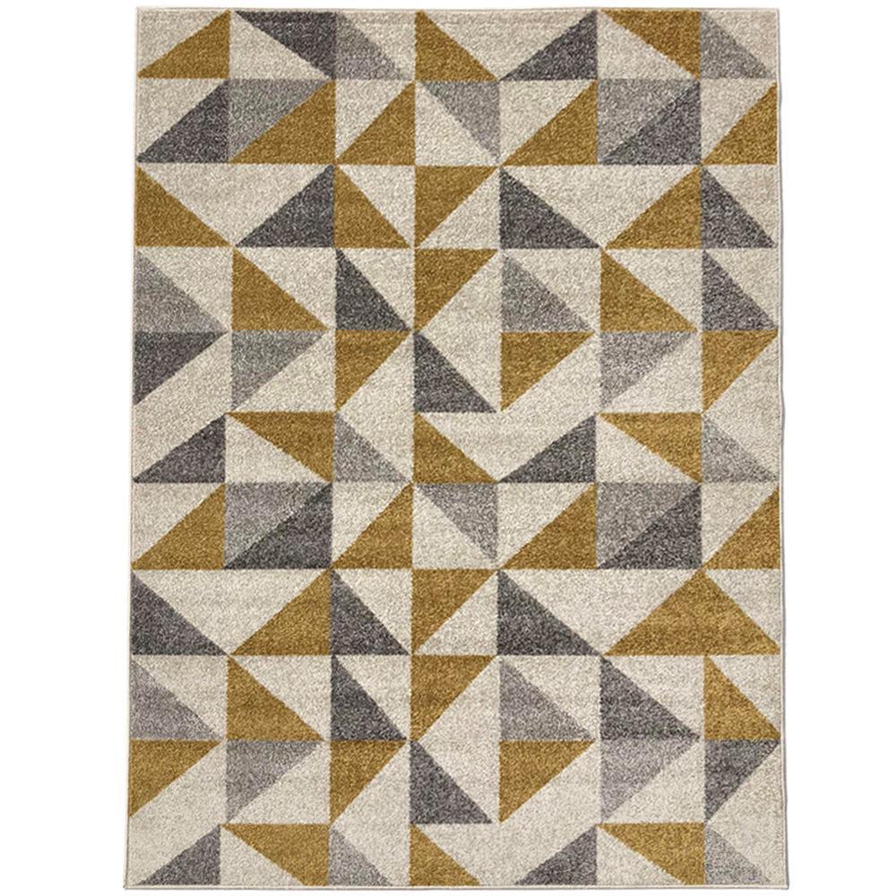 Pyramid Decor Ivory 2 ft. x 5 ft. Modern Geometric Pattern Area Rug
