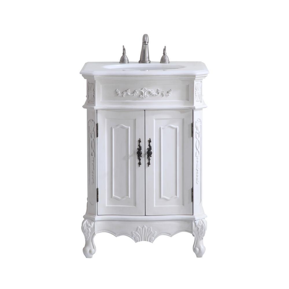 Abbott 24 in. Single Bathroom Vanity with 1-Shelf 2-Doors Marble Top ...