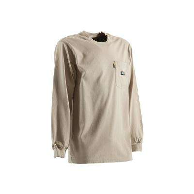 Men's Small Regular Khaki 100% Cotton FR Crew Neck T-Shirt