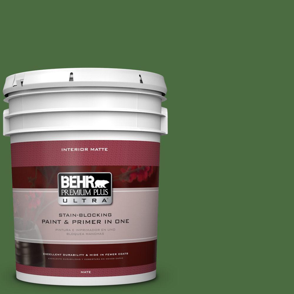 BEHR Premium Plus Ultra 5 gal. #S-H-440 Pine Scent Flat/Matte Interior Paint