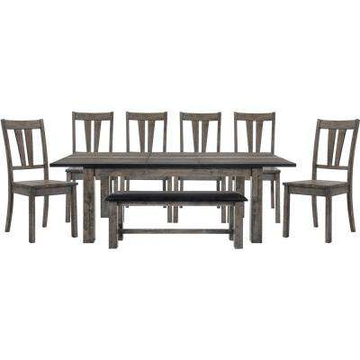 Drexel 8 Piece Weathered Gray Dining Set: Table, 6 Wooden Chairs And Bench