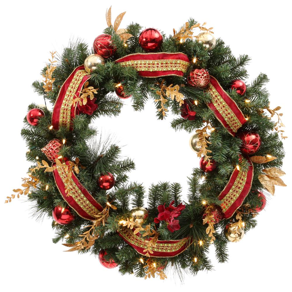 Home Accents Holiday Plaza 30 in. Battery Operated Plaza Artificial Wreath with 50 Clear LED Lights