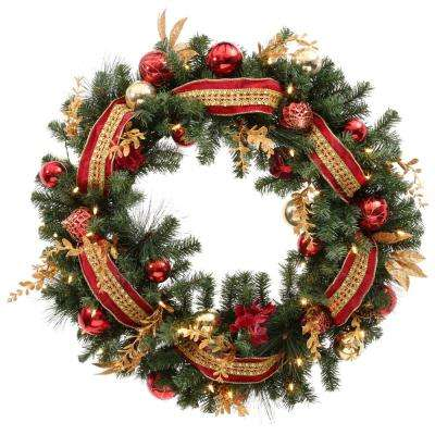 Plaza 30 in. Battery Operated Plaza Artificial Wreath with 50 Clear LED Lights