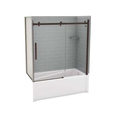 Utile Metro 30 in. x 59.8 in. x 81.4 in. Right Drain Alcove Bath and Shower Kit in Ash Grey with Dark Bronze Door