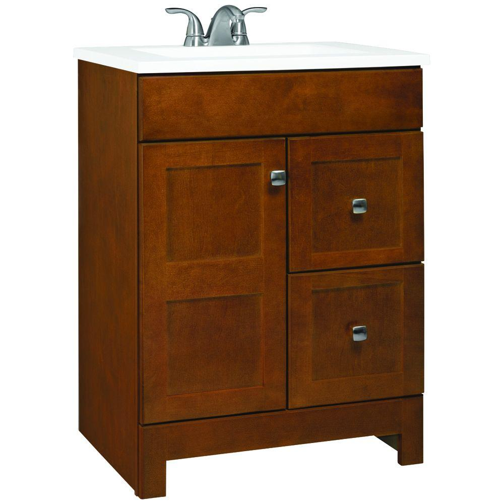 Glacier Bay Artisan 24.5 in. W Bath Vanity in Chestnut with Cultured Marble Vanity Top in White with White Sink