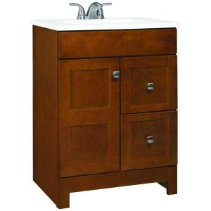 Glacier Bay Artisan 24.5 inch W Bath Vanity in Chestnut with Cultured Marble Vanity Top in White with White Basin by Glacier Bay