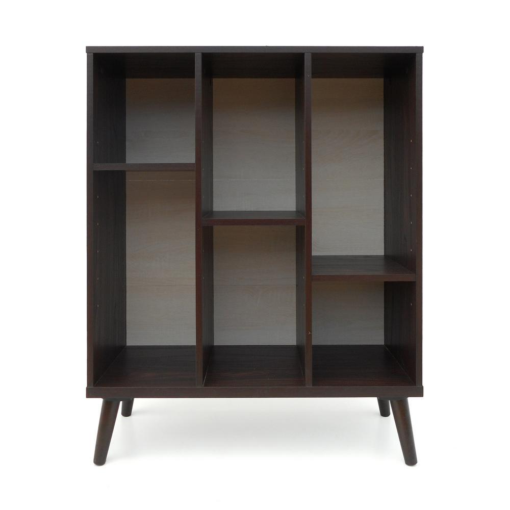 Felicia Mid-Century Modern Walnut Brown Faux Wood Bookshelf with Sonoma Oak Back