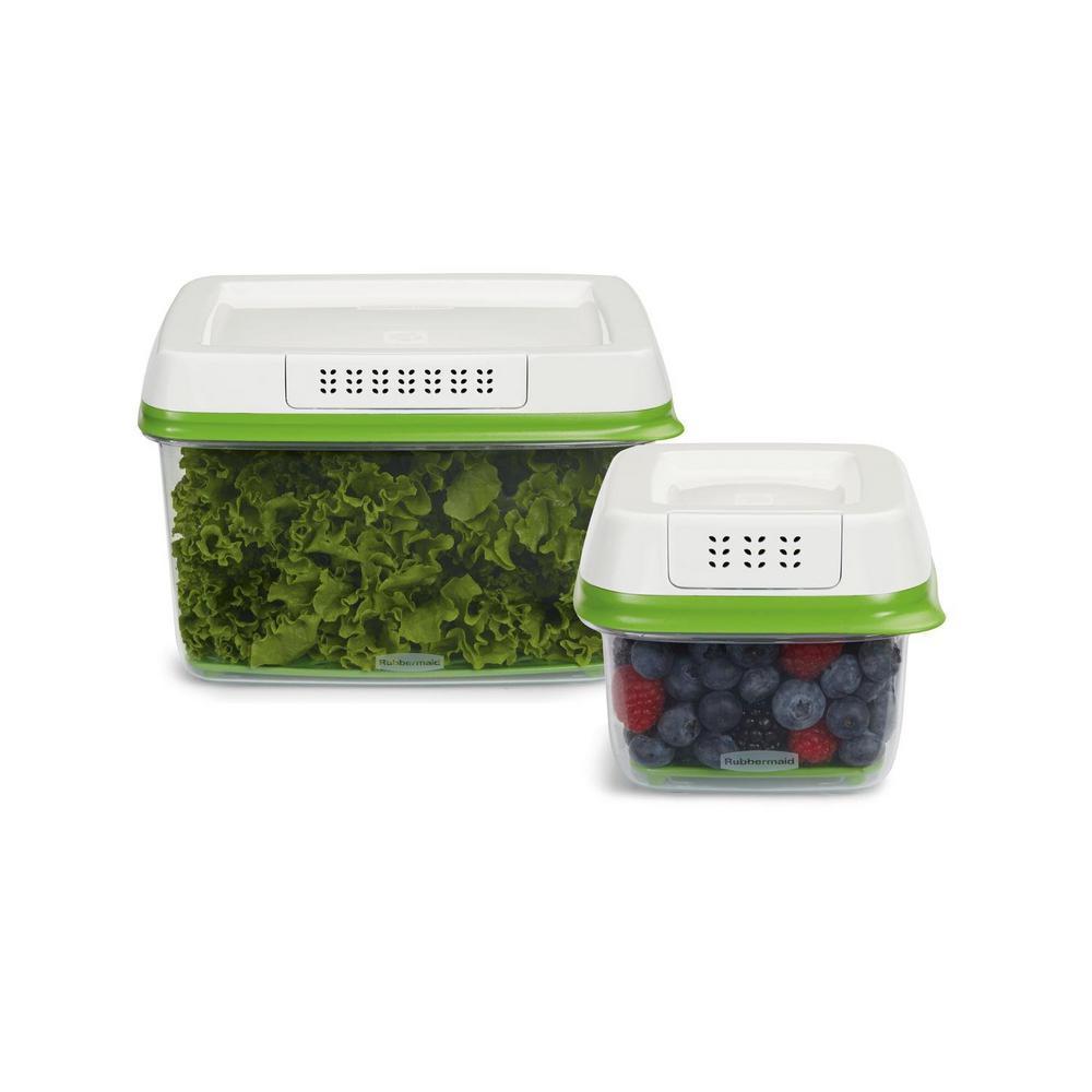 Fresh Works Produce Saver 2-Piece Green Storage Container Set