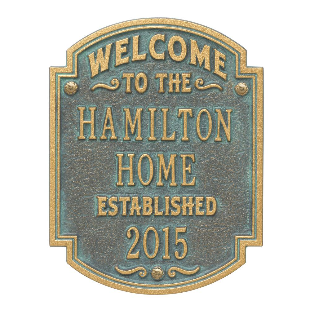 Heritage Welcome Square Standard Wall 3-Line Anniversary Personalized Plaque in