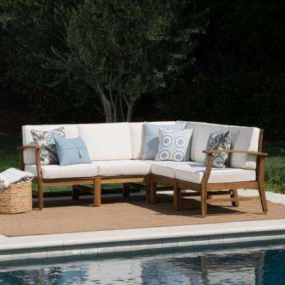 Teak Brown 5-Piece Wood Outdoor Sectional Set with Cream Cushions