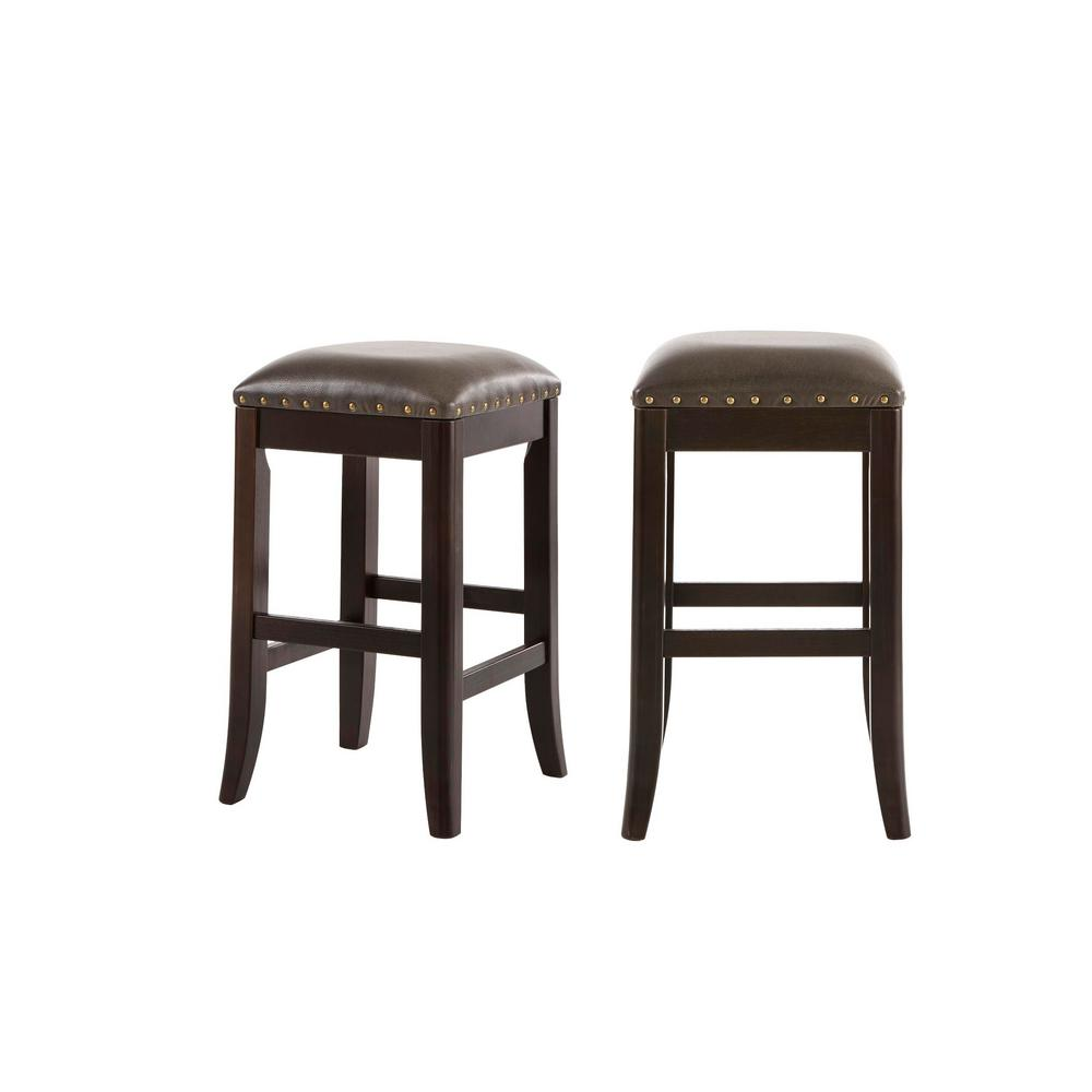 StyleWell Ruby Hill Black Wood Upholstered Backless Counter Stool with Gray Faux Leather Seat (Set of 2) (14.4 in. W x 23.8 in. H), Dark Gray/Ebony was $129.0 now $77.4 (40.0% off)