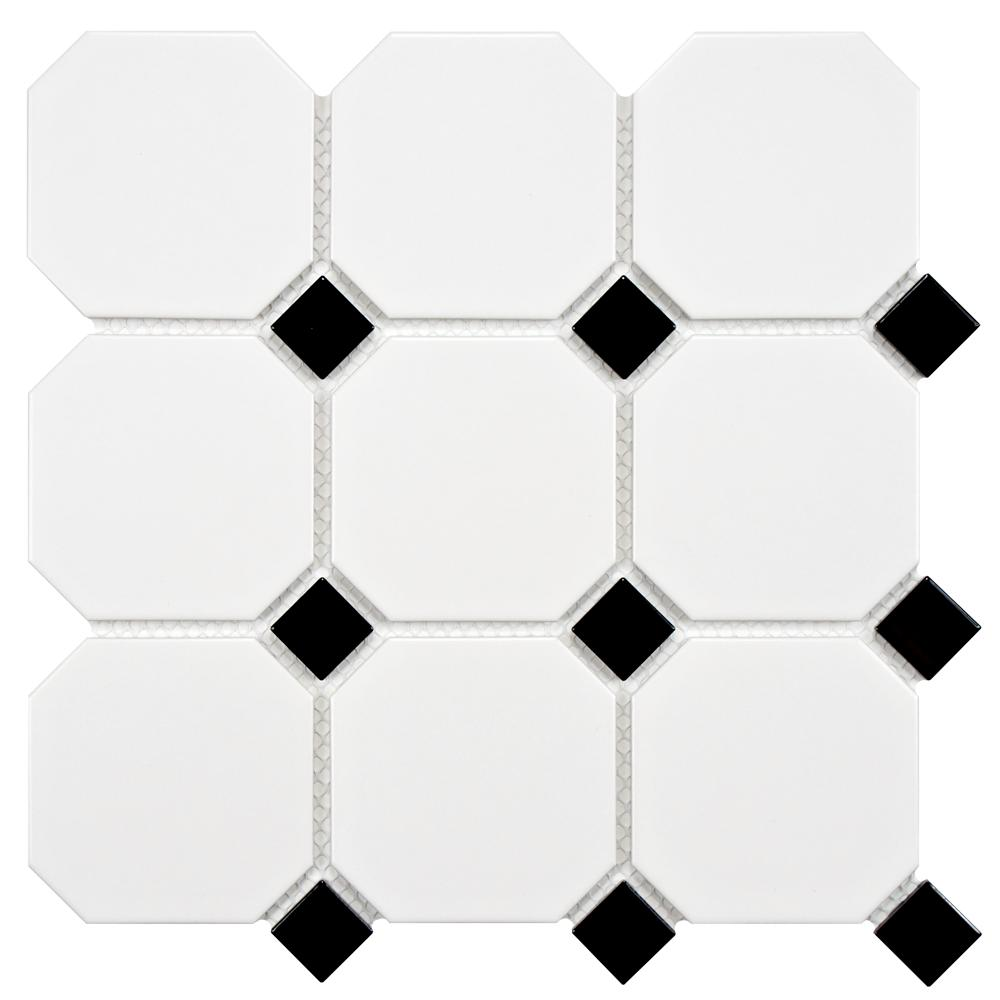 Merola tile metro super octagon matte white with glossy black dot merola tile metro super octagon matte white with glossy black dot 11 58 in x 11 58 in x 5 mm porcelain mosaic tile 96 sqftcs fxlm4owd the home dailygadgetfo Gallery