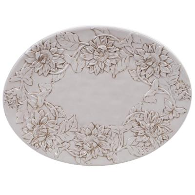 Toile Rooster Ceramic Embossed Oval Platter