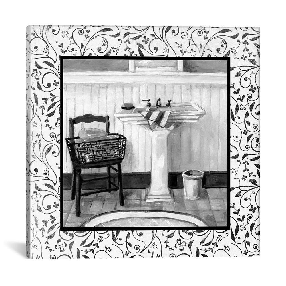 """""""Black And White Bath II"""" by Carol Robinson Canvas Wall Art"""