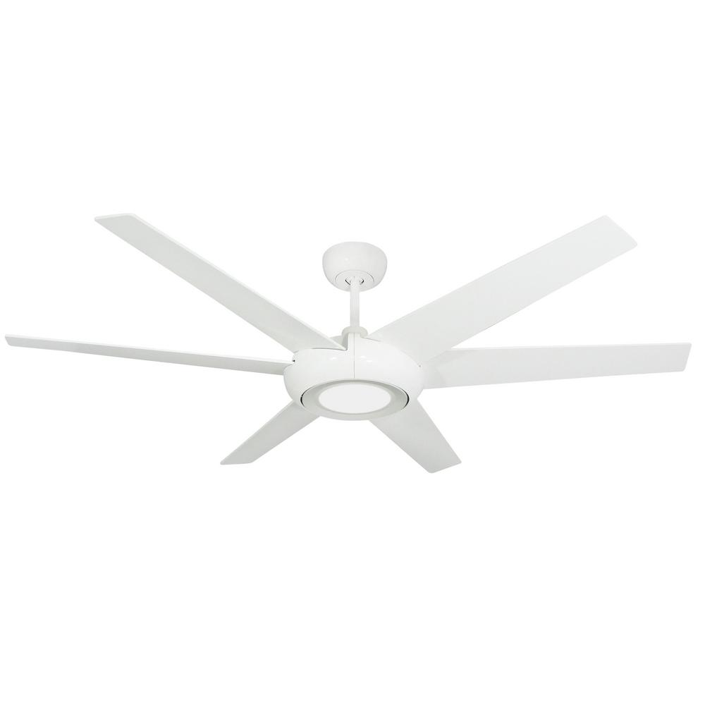 Troposair Elegant 60 In Led Indoor Outdoor Pure White Ceiling Fan With Light And