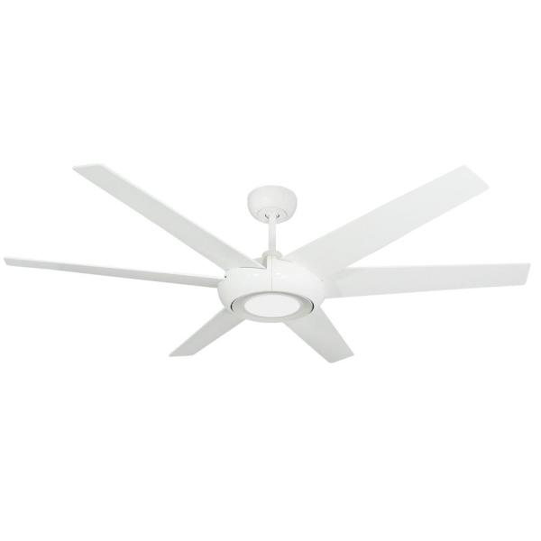 Elegant 60 in. LED Indoor/Outdoor Pure White Ceiling Fan with Light and Remote Control