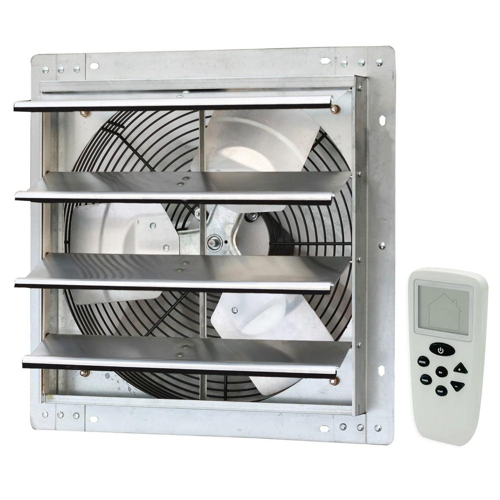 iLIVING 16 in. 1200 CFM Power Variable Speed Exhaust Shutter Fan with Thermostat, Humidistat, Variable Speed, Timer