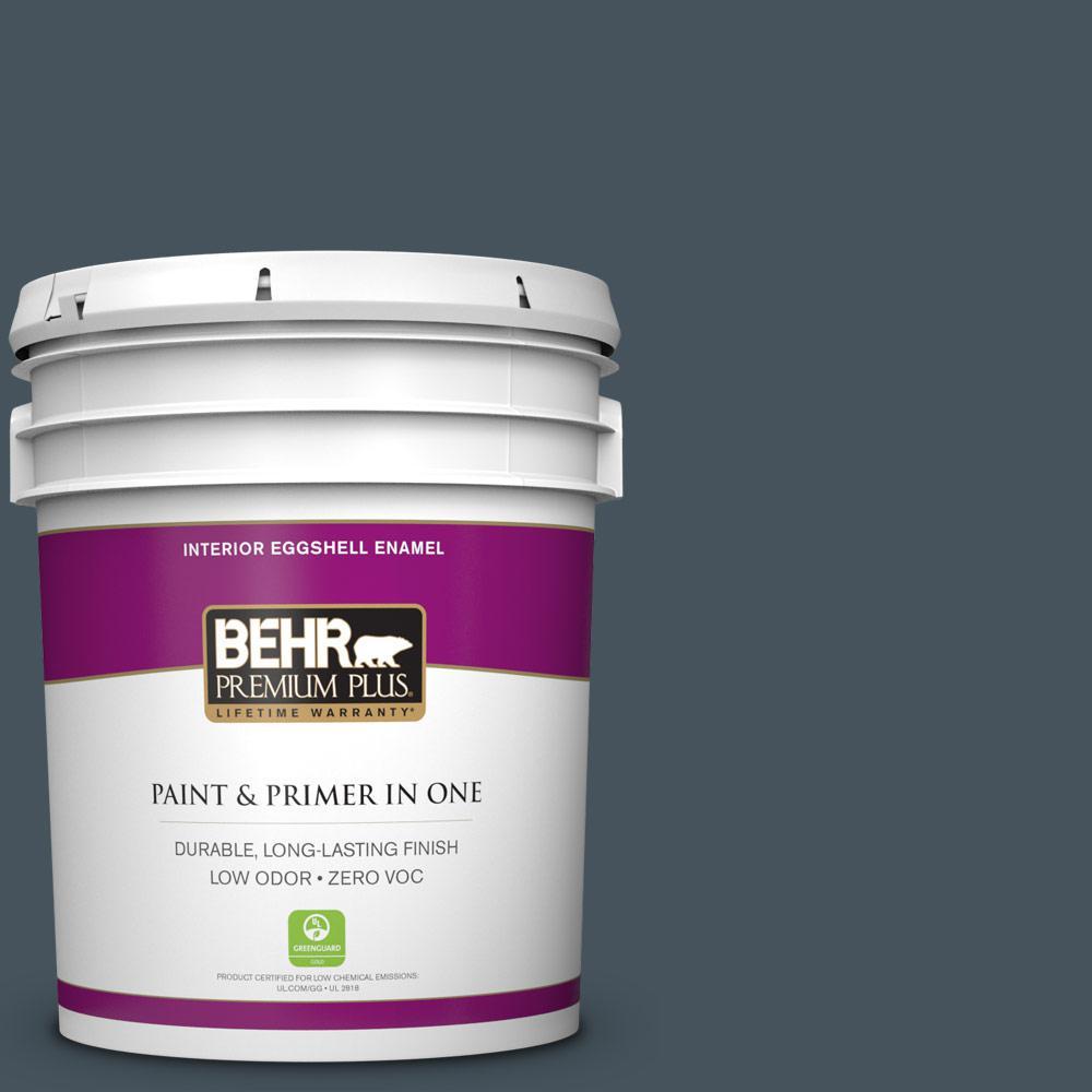 5 gal. #BNC-40 Moody Black Zero VOC Eggshell Enamel Interior Paint