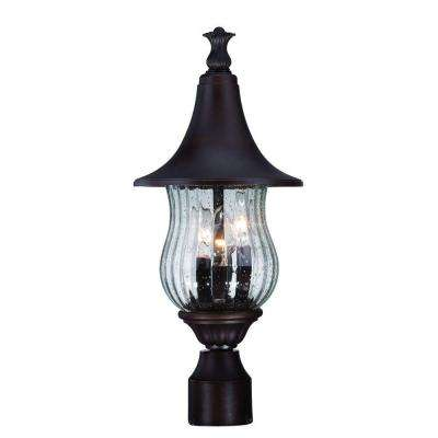 Del Rio 3-Light Architectural Bronze Outdoor Post Mount Light Fixture