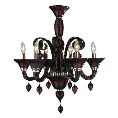 Red chandeliers lighting the home depot murano 6 light polished chrome and cranberry red blown glass venetian style chandelier mozeypictures Image collections