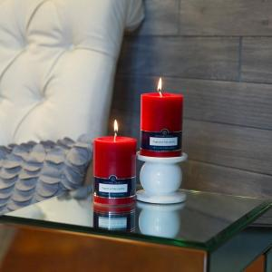 Click here to buy Colonial Candle Red 3 inch x 4 inch Unscented Pillar Candles (Set of 2) by Colonial Candle.