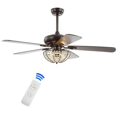Joanna 52 in. Oil Rubbed Bronze 3-Light Bronze Crystal LED Ceiling Fan with Light and Remote