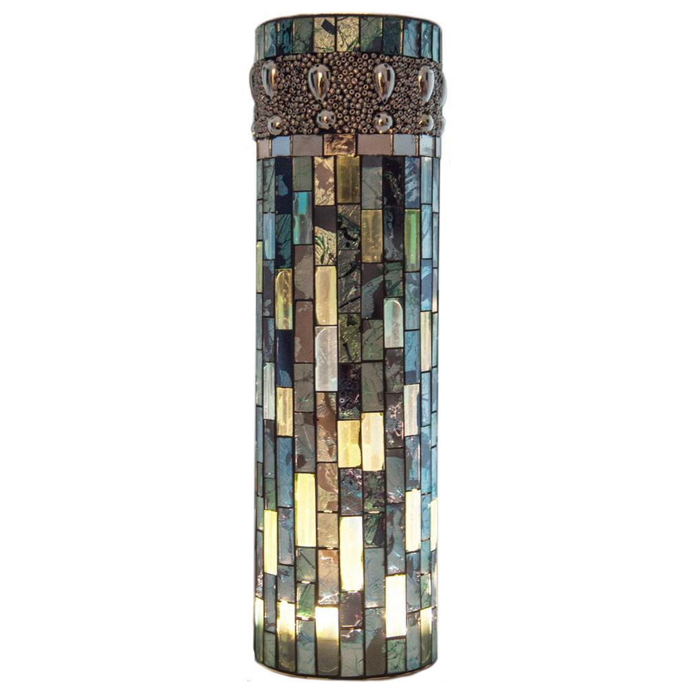 10.75 in. Blue Beaded Mosaic Accent Lamp with LED Lights