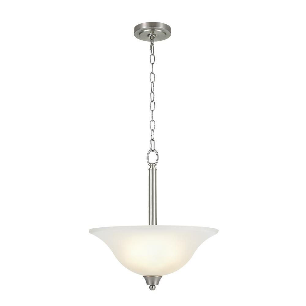 Alsy 2 light brushed nickel inverted pendant with etched glass shade