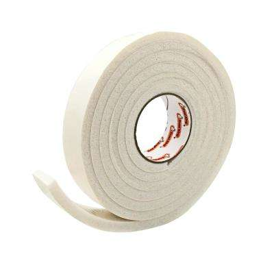 E/O 1-1/4 in. x 7/16 in. x 10 ft. White High-Density Rubber Foam Weatherstrip Tape