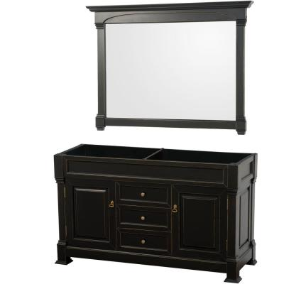 Andover 60 in. W x 22.25 in. D Bath Vanity Cabinet Only with Mirror in Black