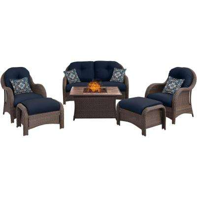 Newport 6-Piece Woven Patio Seating Set with Tile-Top Fire Pit with Navy Blue Cushions
