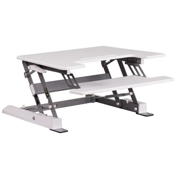 28.3 in. Rectangular White Standing Desks with Adjustable Height