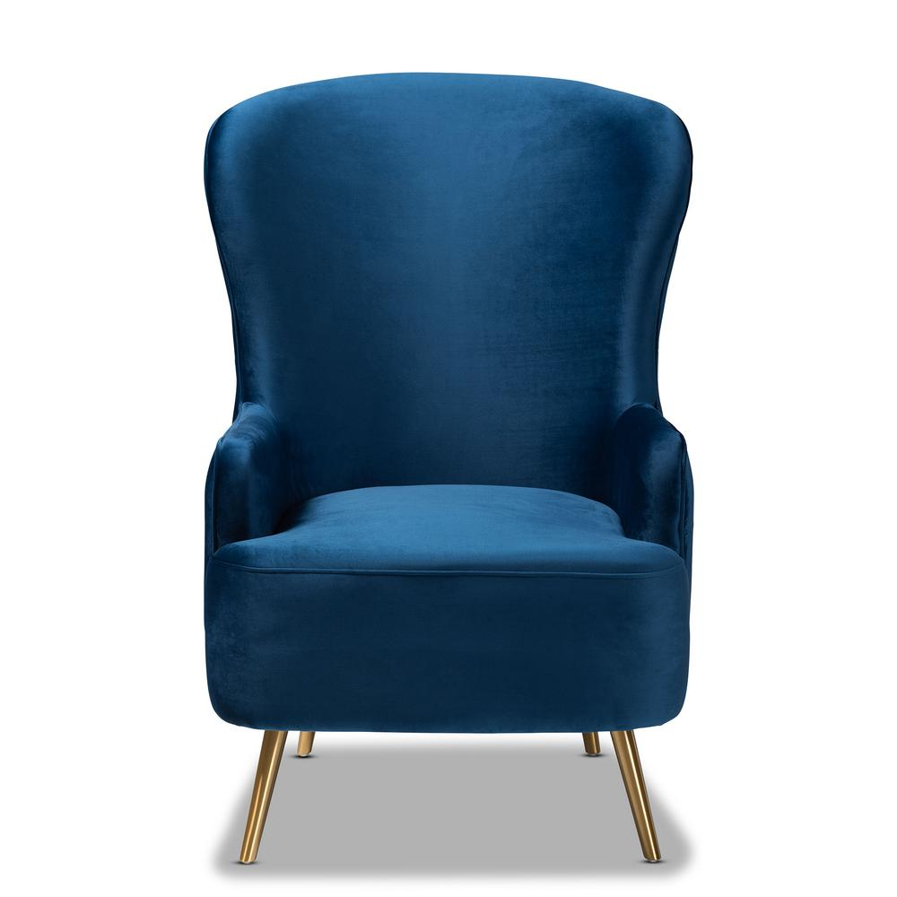 Melissa Royal Blue and Gold Fabric Accent Chair